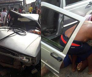 Imagens mostram o socorro a uma das vítimas do acidente.