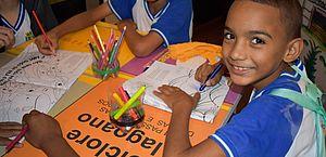 Alunos da Rede Municipal de Ensino durante concurso de frases temáticas