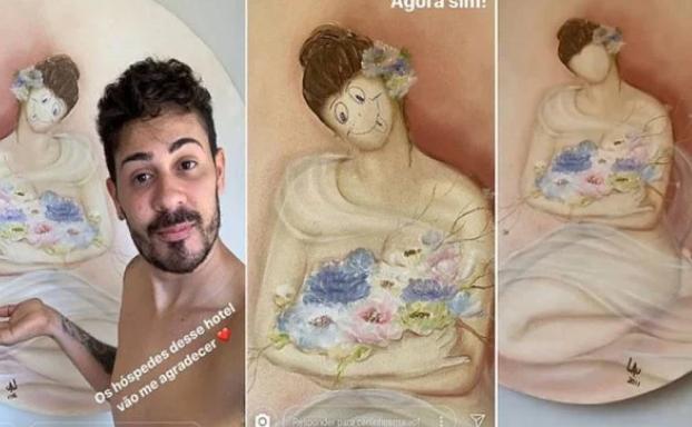 O quadro original mostrava uma mulher sem rosto segurando um buquê de flores. E Carlinhos decidiu usar uma caneta para desenhar olhos e boca na personagem