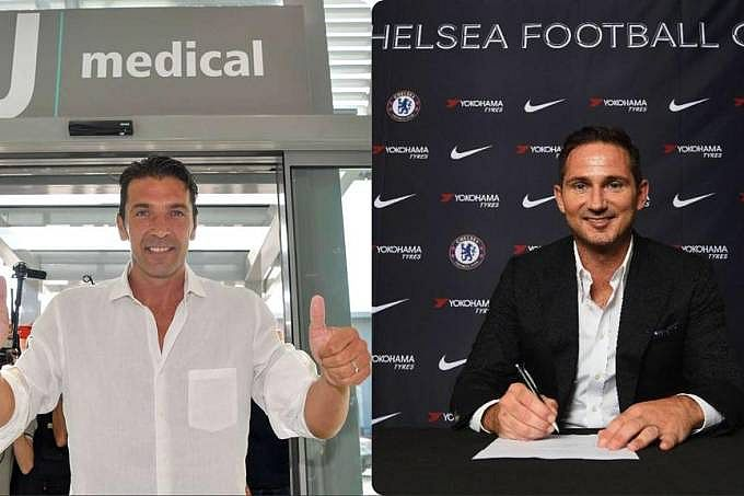 O goleiro Gianluigi Buffon, da Juventus, e o técnico e ex-meia do Chelsea, Frank Lampard