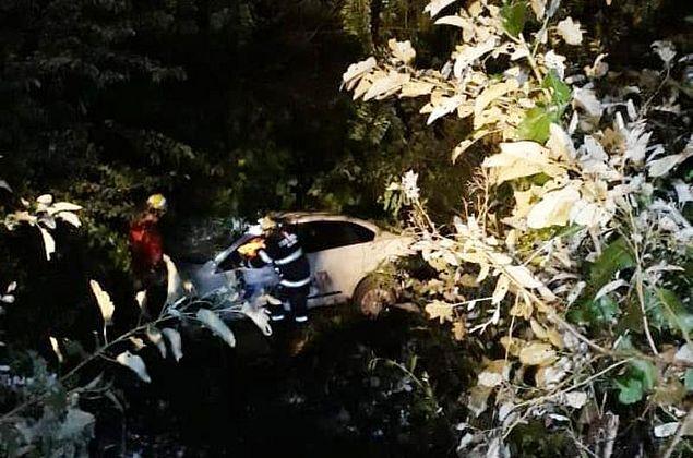 Carro colide em poste, capota e vai parar em matagal na AL-101 Norte