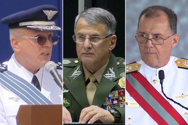 Comandantes da Aeronáutica, Antônio Carlos Moretti Bermudez; do Exército, Edson Pujol; e da Marinha, Ilques Barbosa
