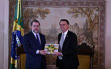 O presidente eleito pelo PSL, Jair Bolsonaro, durante audiência com o presidente do STF (Supremo Tribunal Federal), ministro Dias Toffoli, no Salão Nobre da Suprema Corte, nesta quarta-feira (7).