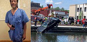 Enfermeiro pula em rio e salva motorista de carro que estava afundando