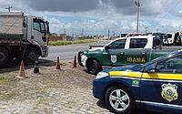 PRF e Ibama realizam ação integrada para fiscalização de caminhões em trechos da BR-101