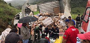 Caminhão carregado de produto para cabelos tomba em rodovia de Viçosa