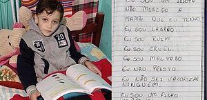 'Eu sou ruim, ladrão e idiota': polícia encontra caderno de menino morto pela mãe no RS