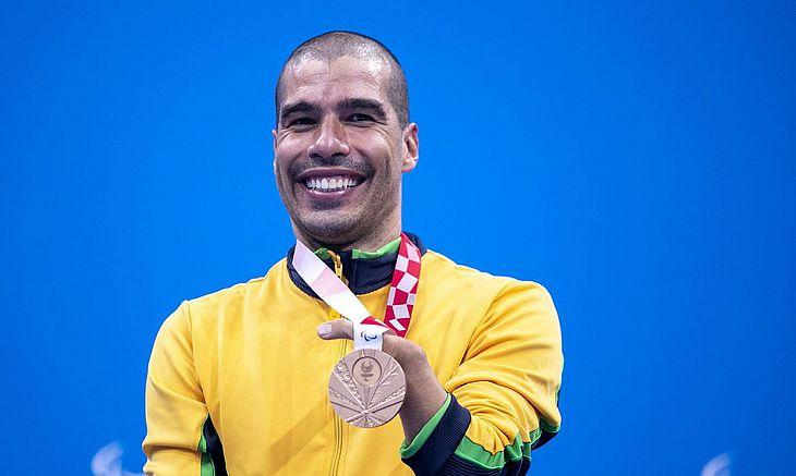 Multicampeão completou em 3º lugar a prova dos 100m livre classe S5