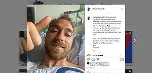 Eriksen recebe alta médica e visita companheiros de seleção da Dinamarca