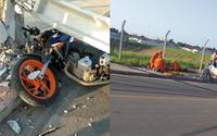 Homem fratura partes do corpo após bater com moto em poste no Eustáquio Gomes