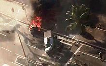 Morador registrou carro em chamas
