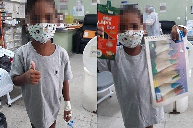 Torturado pelo padrastro, garoto completa 6 anos em enfermaria e posa otimista para fotos
