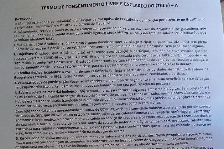 Termo de consentimento assinado por moradora do Clima Bom, em Maceió