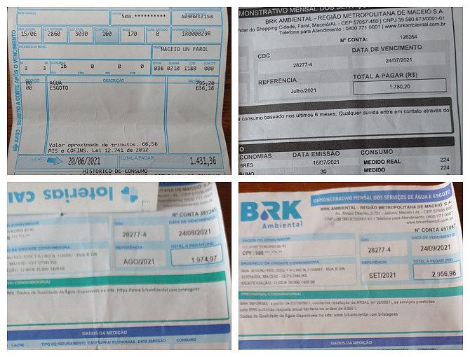 Em cima: imagem da esquerda, do mês de junho, é da casal; as outras mostram o aumento já sob cobrança da BRK nos meses de julho (acima à direita), agosto (em baixo, à esquerda) e setembro (em baixo, à direita)