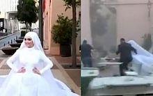 Durante ensaio de casamento, noiva é surpreendida com explosão em Beirute, no Líbano