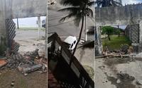 Vídeo: carro bate e derruba parte do muro da sede do Sindicato dos Jornalistas, em Maceió